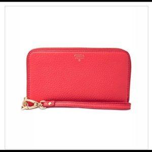 🌺Fossil Sydney RFID Zip Wallet W/Wristlet Strap